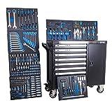 DeTec. 1077 Heavy Duty XXL Werkstattwagen bestückt 7/7 Schubladen gefüllt mit Werkzeug Carbon Einleger in blau (Werkzeugwagen mit Rollen | Bestückt mit Werkzeug | XXL Format)