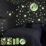 HOSPAOP Leuchtsticker Wandtattoo, 435 Stück Leuchtsterne Selbstklebend Punkten und Mond Sternenhimmel Aufkleber für Schlafzimmer Jungen M