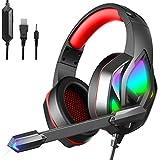 Gaming Headset für PS4, PS5 und PC, Coole Serie Wired USB Headset Over Ear mit RGB Lichteffekt und 7.1 Surround Sound, Over-Ear Gaming Kopfhörer mit Lautstärkeregler und Rauschunterdrückung Mikrofon
