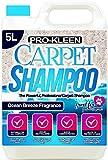 Pro-Kleen Professionelles Teppich- & Polster-Shampoo, frischer Meeresduft, 5 l Hochkonzentrat-Reinigungslösung, geeignet für alle Maschinen, flüssig, 5 L