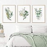 TBDY Aquarell Tropische Dekoration Pflanzenblatt Botanische Drucke Wanddekoration,Kunstdruck, Botanische Wanddekoration für Wohnzimmer, Zuhause, Set mit 3ungerahmt (70x100cm x3)