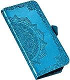 QPOLLY Hülle Kompatibel mit LG K50,LG Q60 Hülle Leder Handy Tasche Brieftasche Flip Wallet Case Schutzhülle Mandala Blumen Muster Klapphülle mit Standfunktion für LG K50/Q60,Blau