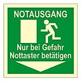 Rettungswegschild aus Kunststoff, lang nachleuchtend - Notausgang Nur bei Gefahr Nottaster betätigen - 10 x 10 cm