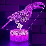 Jinson well 3D Vogel Nachtlicht Lampe optische Nacht licht Illusion 7 Farbwechsel Schreibtisch Dekoration Lampen Acryl USB Spielzeug