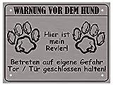 LUGUNO Hundeschild Warnung Vor Dem Hund - Hier ist Mein Revier Hunde Warnschild Tor geschlossen halten