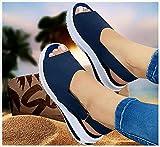 Hohe Qualität Sexy Frauen Keilsandalen Damen Lässige Einfarbige Orthopädische Sandalen mit Offenem Zeh Faux Leder Plattform Flip Flops Sommerschuhe Strand Sandalen,Plus Size 35-43Blue-EUR 41/USA 10