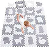 A-Generic Schaumspielpolster gebildet Fliesenstil Fliesen Puzzle Dicke Boden Dicke Schaumpuzzles-Z weiß-graue Tiere_142 x 114 cm Puzzle-Matte