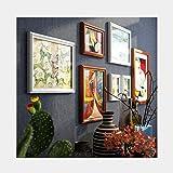 Hängende Fotoanzeige. Foto Wandkombination Hintergrund Wandkunst Bildrahmen Massivholz Große Bilderrahmen Wohnzimmer Dekoration Wandkombination 7 Sätze (Color : White+)