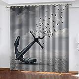 MXYHDZ Blickdicht Vorhang für Schlafzimmer - Ideen für Möwenanker - 3D Druckmuster Öse Thermisch isoliert - 220 x 215 cm - 90% Blickdicht Vorhang für Kinder Jungen Mädchen Spielzimmer