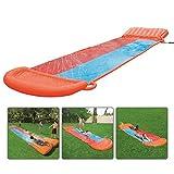 vogueyouth Wasserrutsche - 5,49 x 1,38 m doppelte aufblasbare Wasserrutsche, hochwertige Gleitmatte, Riesenrutsche und Rutschen für Eltern-Kind-Wassersport im Freien