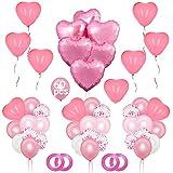 NHHEO Luftballons in Herzform, Herzform, Luftballons zum Valentinstag, 60 Stück Luftballons für Hochzeit, Jahrestag, Partydekoration (rosa)