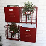 Yubingqin Zeitschriftenständer aus Schmiedeeisen, Zeitungsständer, Wandhalterung, Zeitungsaufbewahrung, Regal, Café, Bar, Wanddekoration (Farbe: Rot)