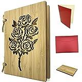 Grußkarte aus Holz als Liebeskarte & Dankeskarte - Bambuskarte mit Rosen ca. A6 Format, handgefertigt - Set mit Einlagepapier, Briefumschlag & Probest