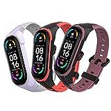 BDIG 3Pcs Kompatibel Für Xiaomi Mi Band 5 Mi Band 6 Armband, Sport Silikon Uhrenarmband Armband Smartwatch Ersatzarmband Mi Band 5 & Mi Band 6 & Amazfit Band 5
