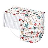 Binoop 10/50/100 Stück Einmal_Mundschutz_für Erwachsene, 3 Lagig(SMS-Struktur) Schmelze Geblasen Stoff Hase Ostereier Druck Atmungsaktive Staubschutz_Mund_Bedeckung (50, F)