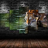 AWER Leinwandbild Tiger trinken im See 4K Poster Modulare Bilder 5 Stück Leinwand Bilder Kunstdruck Wanddeko modern Wandbilder Wand Aufhängen Mit Rahmen