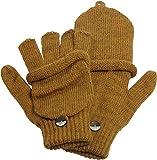 Claus Modes Damen/Mädchen Halbfinger Handschuh mit Klappe melange Farben, Farben:senf, Handschuhgröße:D