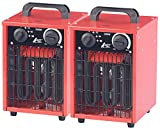 AGT Elektroheizer: 2er-Set Profi-Industrie-Elektro-Heizlüfter, 3.000 Watt, 3 Heizstufen (Bauheizer)