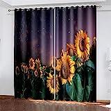 HOMEIEU Verdunkelungsvorhänge, 3D Sonnenblumenmuster, Weiche Wärmedämmvorhänge, Schlafzimmer, Wohnzimmer, Kinderzimmer Vorhanglöcher 105 Stück (W107xH138cm-2PCS)