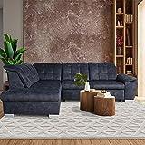 Ecksofa mit Schlaffunktion - Anthrazit Blau- Wohnlandschaft - 2,60x2,01m - Sofa Couch - verstellbare Rückenlehne - Bettkasten