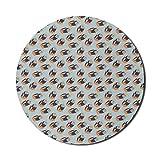 Runde Mausmatte, abstraktes Mauspad für Computer, Kristallographie Kreatives geometrisches Gekritzel, handgezeichnetes Bild, rundes rutschfestes Gummi-Mousepad mit moderner Basis, mehrfarbiges Mousep
