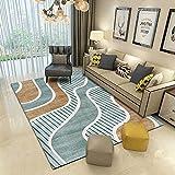 Teppiche Wohnzimmer Teppich Modern Geometrisch Kurvenreich Grün Braun Soft Area Rug Shaggy Flauschig Teppiche fürs Schlafzimmer Esszimmer Kinderzimmer oder Matte für Stuhl Sofa 160x230cm