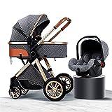 YXCKG Kinderwagen 3 in 1Kombikinderwagen Set (2in1 inkl. Mommy Bag&Moskitonetz Regenschutz) bis 25 kg,Kinderwagen Stubenwagen Luxus Kinderwagen Kinderwagen mit Liegefunktion (Size : Gray)
