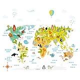 173 Wandtattoo Weltkarte mit Tieren - Kinderzimmer Wanddeko Größe 960 x 660
