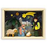Graupner Holzminiaturen | Glückwunsch Kästchen Krippe aus Holz | Original Erzgebirgische Holzkunst® | Hochwertige Handarbeit | Alternative zur Glückwunschkarte | Verpackung für Geldgeschenk