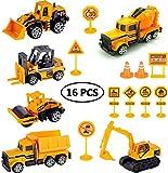 StillCool 16-teiliges Baufahrzeug-Set, Bagger, Autos, Modellautos, Baustellenspielzeug, Fahrzeuge für Kinder