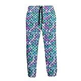 Lila und grüne Pailletten-Fischschuppen Herren-Jogginghose Sport-Jogginghose mit Taschen
