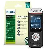 Philips VoiceTracer DVT2810 Audiorecorder Aufnahmegerät digitales Diktiergerät mit Schreibfunktion mit Dragon-Spracherkennungssoftware, 2 High-Fidelity-Mikrofone, 8GB (für Windows)