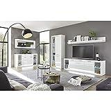 Moderne Wohnwand Komplett Set mit Kommode und Couchtisch, Hochglanz weiß, LED-Beleuchtung, Vitrinenschrank, TV-Lowboard, Wandregal