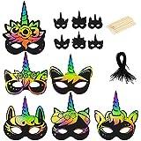 CINVEED 19 TLG Kratzbilder Set Bastelset Kratzpapier Einhorn Kratz Maske DIY Basteln Kindermasken Regenbogen Tiermasken mit Gummiband Holzstab für Kindergeburtstag Party Dek