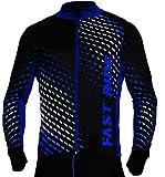 STANTEKS Radtrikot Trikott Langarm Fahrradtrikot Fahrradshirt Fahrradbekleidung Herren Damen Unisex Fahrrad Radsport Thermo Atmungsaktiv Jersey Reißverschluss Reflektoren SR0032 (Schwarz-blau, XXL)