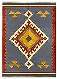 HAMID - Kelim Teppich Lori mit Geometrischem Oriental Design - 100% Wolle - Handgeknüpfter Kelim - Flurteppich, Wohnzimmer, Schlafzimmer, Wohnzimmer (D.1, 110x60cm)