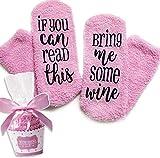 """Wein Kuschel-Socken """"If You can read this bring me some wine"""" lustiges cupcake Socken Geschenk für Frauen, pink"""