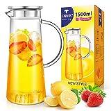 CNNIK Glas Krug, 1.5 Liter Glaskaraffe mit Deckel Wasserkrug Wasserkaraffe Glaskaraffe Wasserkanne Karaffe Krug Glas Pitcher Glas Saftkanne