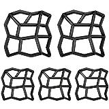 MCTECH® D.I.Y. Betonform Schalungsform BetonPflasterform Pflastermacher Zufällige/Rechteck Muster von, Gehwegen, Trittsteinen, Garten (Zufällige Muster, 5 Stücke)