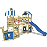 WICKEY Spielturm Klettergerüst StormFlyer mit Schaukel & blauer Rutsche, Baumhaus mit Sandkasten, Kletterleiter & Spiel-Zubehör