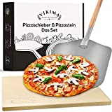 Vikima Pizzastein & Pizzaschieber Set | Pizzastein für Backofen und Gasgrill | XL Pizzaschieber Edelstahl | Backstein für Brot, Flammkuchen und Pizza | Pizza Stone auch für S
