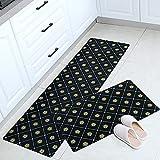 HLXX Moderne Küchenteppiche Wasser- und ölbeständige Matte Kochbodenteppiche Anti-Rutsch-Flur Eingang Fußmatte Schlafzimmer Fußpolster A4 40x60cm