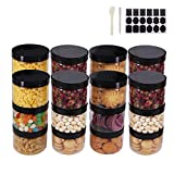 ZMYBCPACK Runde transparente Kunststoffdosen mit Deckel, einem Spatel, einem Stift und Etiketten, BPA-freier PET-Behälter für Kosmetik, Creme, Bad, Küche, Geschenke und Reisen, 24 Stück