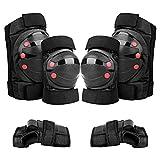 Ayaaa 6-in-1-Protektor-Set Verstellbare Knieschützer Ellbogenschützer Handschützer für den Knie-Ellbogen Schutzausrüstung Rollschuh-Skaten