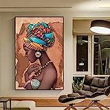 QAZEDC Leinwandbild Moderne afrikanische Frau, die Perlenkette-Plakate trägt und Druck-Leinwand-Kunst-Wand-Porträt-Malerei für Raum-Hauptdekor druckt