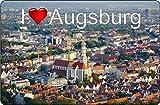 Cadora Magnetschild Kühlschrankmagnet I Love Augsburg I
