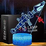 Rokter Launcher 3D-Illusionslampe, Weihnachtsgeschenk, Nachtlicht, 16 Farben, automatischer Wechsel, Touch-Schalter, Schreibtischdekoration, Lampen, Geburtstagsgeschenk