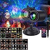 VIFLYKOO LED Projektionslampe, 18 Folien LED Projektor Lichter mit Fernbedienung,IP65 Wasserdicht,LED Welleneffekt Romantische Außenbeleuchtung Dekoration für Weihnachten, Party, H