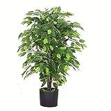 Leaf Design UK Kunstpflanze / Kunstpflanze, 90 cm, buschig, schwarzer Kunststofftop