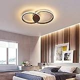Schlafzimmer Dimmbar Deckenleuchte Runde Deckenlampe Fernbedienung Ring Design Wohnzimmer Leuchte Arbeitszimmer Lampe LED Flur Treppe Deckenlicht Balkon Gang Decke Kronleuchter (braun, 2 ringe 48cm)